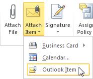 रिबन पर Outlook आइटम जोड़ें आदेश