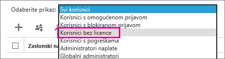 Prikaz popisa nelicenciranih korisnika