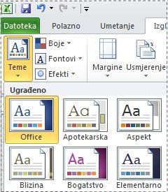 Galerija tema u programu Excel 2010