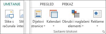 Snimka zaslona s grupama sastavnih blokova na kartici Umetanje u programu Publisher.
