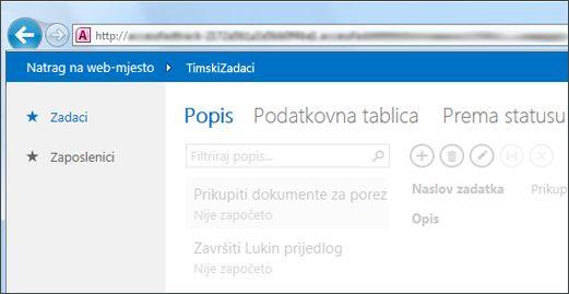 Aplikacija programa Access u kojoj se prikazuju tablice uz lijevi rub i birač prikaza na vrhu.