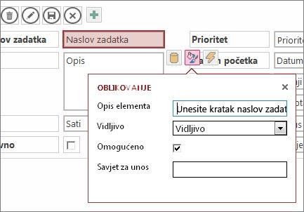 Prikaz u načinu uređivanja prikazuje postavke oblikovanja za tekstni okvir.
