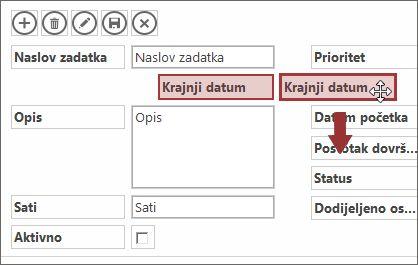 Prilikom pomicanja kontrole u prikazu, druge se kontrole automatski prilagođavaju.