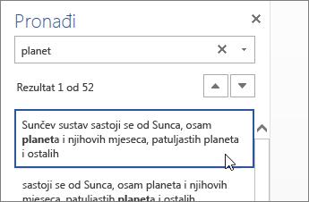 Okno Traženje u web-aplikaciji Word Online