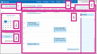 Prikaz tjedna na kalendaru