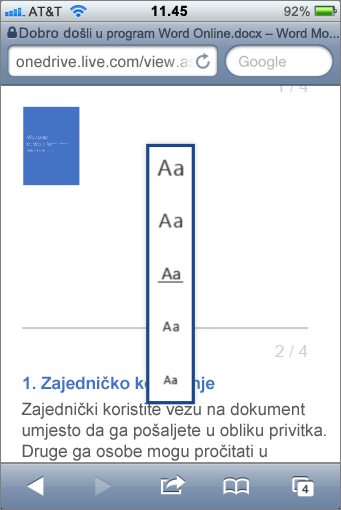 Odabir veličine fonta u pregledniku programa Word za mobilne uređaje