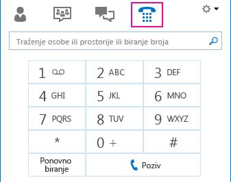 Snimka zaslona s ikonom Telefon na kojoj se prikazuje tipkovnica pomoću koje se može uputiti poziv