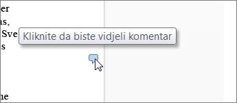 Slika oblačića komentara u web-aplikaciji Word Web App