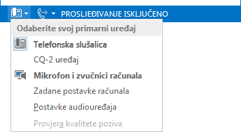 Snimka zaslona s izbornikom Odabir primarnog uređaja