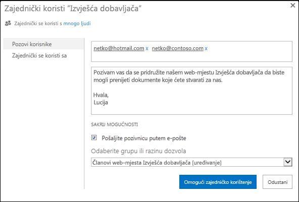Slika dijaloškog okvira Zajedničko korištenje za web-mjesto s imenima vanjskih korisnika.