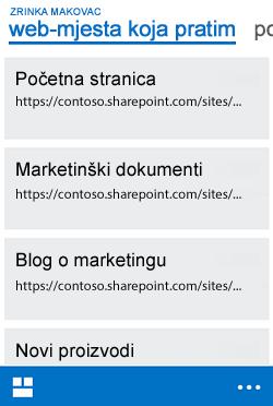 Prikaz web-mjesta koja pratim