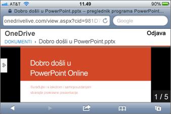 Dijaprojekcija u pregledniku programa PowerPoint za mobilne uređaje