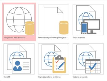 Prikaz predložaka na početnom zaslonu u programu Access