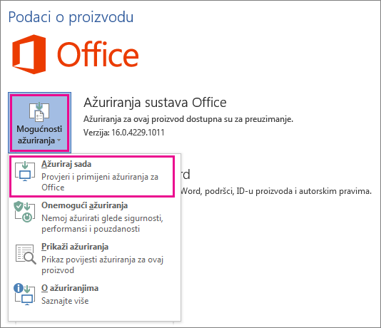 Ručno traženje ažuriranja sustava Office u programu Word 2016