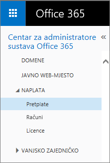 Veza na stranicu Pretplate u sustavu Office 365 Small Business Premium.