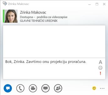 Snimka zaslona prozora razgovora izravnim porukama