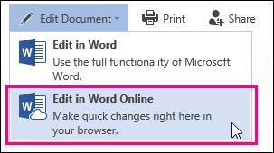 Slika naredbe Uredi u web-aplikaciji Word Web App
