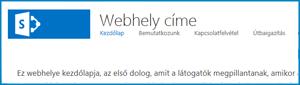 Képernyőkép: a nyilvános webhely alapértelmezett kezdőlapja a SharePoint Online-ban