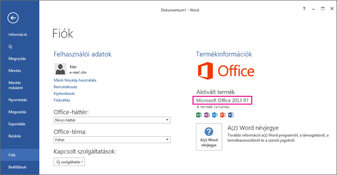 Word RT showing the File > Account window