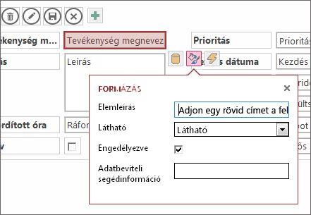 Nézet szerkesztőmódban egy szövegmező formázási beállításaival