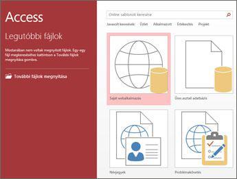 Az Access üdvözlőképernyője a sablonkereső mezővel, valamint a Saját webalkalmazás és Üres asztali adatbázis gombbal.