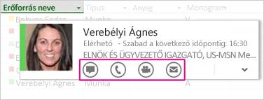 Lync-névjegykártya a Project 2013-ban