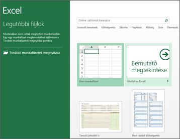 Az Excelben használható egyes sablonok