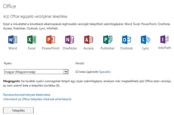 Az Office legújabb verziójának telepítése lap