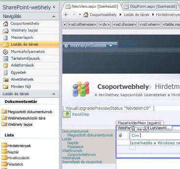 Nézet létrehozása a SharePoint Designer 2010 eszközben