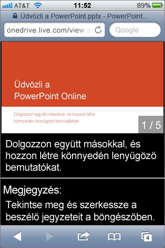 Diák és előadói jegyzetek a PowerPoint Mobile Viewerben