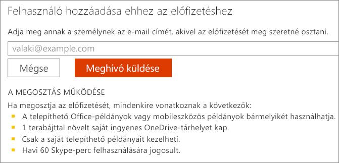 """Képernyőkép: a """"Felhasználó hozzáadása ehhez az előfizetéshez"""" párbeszédpanel."""