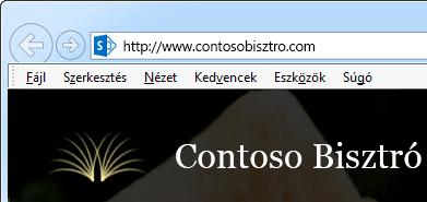 Képernyőkép: a nyilvános webhely címterülete a SharePoint Online-ban. A cím egyéni tartománynevet használ: ContosoBistro.com
