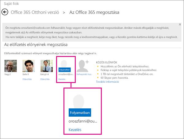 Képernyőkép a Share Office 365 lapjáról, amelyen a felhasználó kijelölt egy függőben lévő megosztott előfizetést.