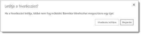 A megosztott dokumentum vendéghivatkozásának letiltására rákérdező párbeszédpanel
