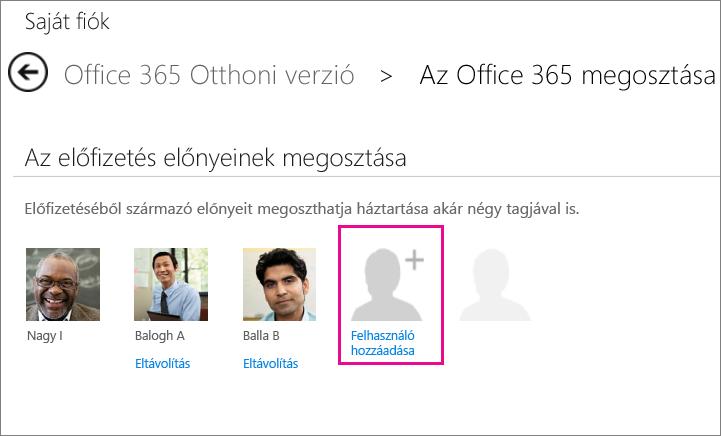 """Képernyőkép: az Office365-előfizetés megosztására szolgáló lap a kiemelt """"Felhasználó hozzáadása"""" elemmel."""