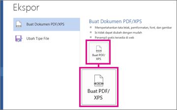 Tombol Buat PDF/XPS