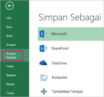 Opsi Simpan Sebagai pada tab File