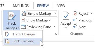 Perintah kunci perubahan pada menu Lacak Perubahan