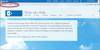 Layout di pagina predefinito per il sito Web pubblico di Office 365