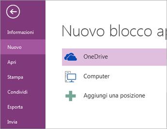 Il processo per un nuovo blocco appunti in OneNote