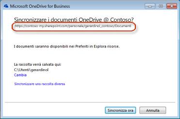 Procedura guidata di OneDrive for Business con URL precompilato