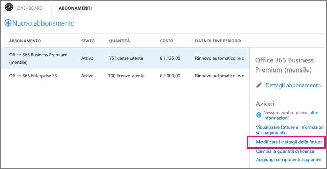 Select Edit Invoice Details on the Subscriptions page.