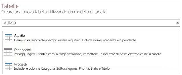 Casella di ricerca dei modelli di tabella nella schermata iniziale di Access.