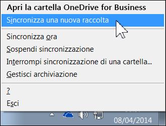 Menu di OneDrive for Business nell'area di notifica di Windows