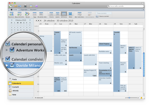 Outlook che mostra più calendari