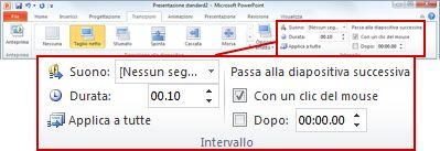 Gruppo Intervallo della scheda Transizioni nella barra multifunzione di PowerPoint 2010.