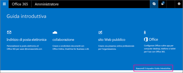 Pagina iniziale di Office 365 Small Business Premium