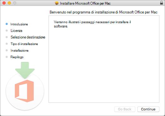 """Schermata della prima installazione di Mac 2016 con """"Continua"""" evidenziato"""