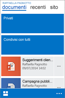 Visualizzazione della raccolta documenti personali in un dispositivo mobile
