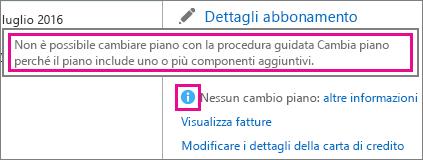 Visualizzazione del messaggio Nessun cambio piano in Office 365 per le aziende.